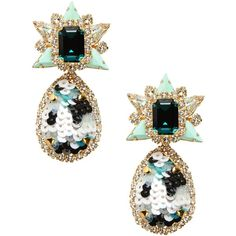 Shourouk Earrings ($360) ❤ liked on Polyvore featuring jewelry, earrings, light green, shourouk jewelry, rhinestone jewelry, sequin earrings, shourouk and sequin jewelry