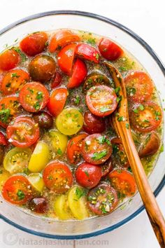 Marinated cherry tomatoes are a colorful, juicy and tasty side dish that is perfect for summer parties, buffets and large gatherings because it can be made hours in advance. This is one of our favorite cherry tomato recipes! Italian marinated tomatoes with just 4 ingredients! | natashaskitchen.com Marinated Cherry Tomatoes Recipe, Cherry Tomato Recipes, Marinated Vegetables, Tomato Salad Recipes, Vegetable Recipes, Relish Recipes, Kitchen Recipes, Cooking Recipes, Healthy Recipes
