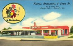 Henry's Restaurant & Drive-In, part of the Carpenter's chain, began to exhibit the more accomodating round shape in part of its design. Some drive-ins did feature a dining room for those patrons who preferred not to eat in their car.