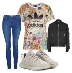 """Yeezy"" by cait-oshau on Polyvore featuring Topshop, adidas Originals, women's clothing, women, female, woman, misses and juniors"