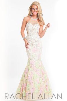 Rachel Allan 6824 - $658.00. Delicate lace floral mermaid dress.