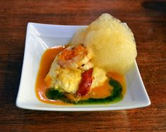 Grilled shrimp over fish mousse with seafood broth and vinaigrette foam at Gran Sol in Hondarribia. Spain
