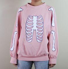 Skeleton Halloween sweater pastel pink by TianYangTees Pastel Punk, Pastel Goth Fashion, Kawaii Fashion, Cute Fashion, Sweater Weather, Ropa Color Pastel, Pastel Shirt, Loose Shirts, Pink Shirts