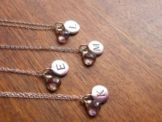 Bridesmaids Gift - Set of four (4) Personalized Initial Pendant Disc with Gemstone - Sterling Silver Necklaces