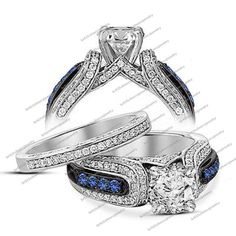 Channel Set.Cluster Style 925 Silver Sapphire Women's Engagement Bridal Ring Set #br925silverczjewelry