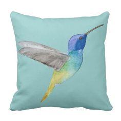 Golden-tailed Sapphire Hummingbird Throw Pillow - blue gifts style giftidea diy cyo