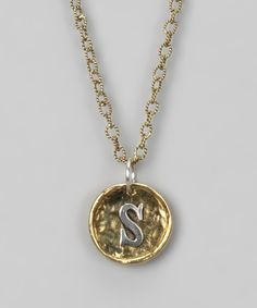 Waxing Poetic Novella Brass Insignia 'S' Charm Necklace