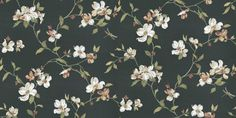 Lavender Dream (322313) - Eijffinger Wallpapers - A beautiful floral trail with dragon flies in a hand painted effect. Showing in white flower heads on a jet black back ground. Please request a sample for true colour match.