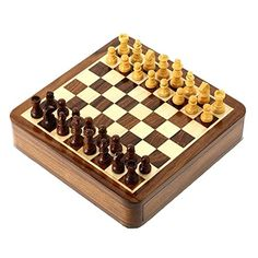 Staunton Chess Set with Wooden Magnetic handcrafted Rosewood Pieces and Inlaid Drawer -- You can get additional details at the image link.