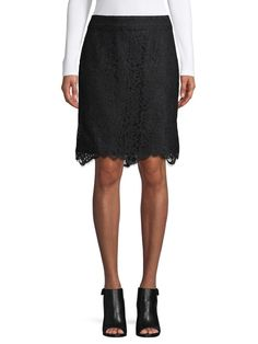 Lace Pencil Skirt Pencil Skirt Black, Scalloped Hem, Lace Overlay, Midi Skirt, Clothes For Women, Skirts, Color Black, Women's Clothing, Cotton