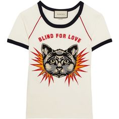 Gucci Appliquéd printed cotton-jersey T-shirt (42.950 RUB) ❤ liked on Polyvore featuring tops, t-shirts, blusas, shirts, tees, white cat shirt, cat tee-shirt, white shirts, gucci shirt and cotton jersey t shirt