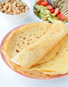 Chickpea crepes are delicious thin vegan and gluten free protein wraps made with only 3 ingredients: garbanzo bean flour, water and salt. An easy, healthy blender recipe perfect for a savory crepes for breakfast. Delicious with mushrooms, spinach or grill