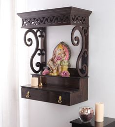 Buy Wenge Mango Wood Pooja Mandir Without Door By Furnicheer Online - Pooja Shelves - Spiritual - Home Decor - Pepperfry Product Temple Design For Home, Pooja Mandir, Pooja Room Door Design, Puja Room, Wood Interiors, Wood Doors, Doa, Solid Wood, Room Decor