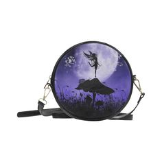 sold at @artsadd :  A beautiful #fairy dancing on a mushroom #silhouette Round Messenger #Bag (Model 1647)