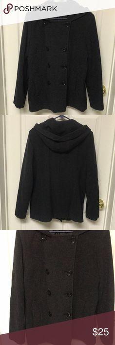 Women's Jason Kole Double Breasted Hooded Jacket Women's Jason Kole Double Breasted Wool Hooded Jacket, two front pockets Gently worn, good condition Size: Large Color: Charcoal Gray Jason Kole Jackets & Coats Pea Coats