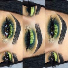 Green half-cut crease eyeshadow w/ gold glitter inner corner - April 20 2019 at . Cut Crease Eyeshadow, Cut Crease Makeup, Gel Eyeliner, Eyeshadow Makeup, Eyeshadows, Eyeshadow Palette, Eyeliner Pencil, Black Eyeliner, Yellow Eyeshadow