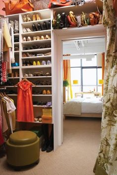Yes, a shelf over the closet door for handbags -- a must!