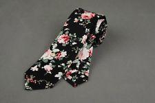 New Man's Cotton Flowers Floral Neck Tie Wedding Necktie Narrow Slim Skinny