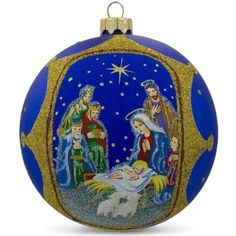 The Nativity Gathering Glass Ball Christmas Ornament 4 Inches Diameter 100 mm (D) Glass Hand Painted Gift Boxed Designed in the USA Made in Ukraine When it Blown Glass Christmas Ornaments, Christmas Tree Crafts, Hand Painted Ornaments, Christmas Balls, Christmas Ideas, Gift Box Design, Glass Ball, Beautiful Christmas, Nativity
