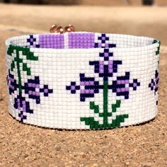 Items similar to Purple Spring Flowers Bead Loom Bracelet Bohemian Boho Artisanal Jewelry Indian Western Bead Native American Style Southwestern Rodeo on Etsy Beaded Braclets, Bead Loom Bracelets, Beaded Bracelet Patterns, Bead Loom Designs, Bead Loom Patterns, Purple Spring Flowers, Native Beading Patterns, Cross Stitch Samplers, Tear