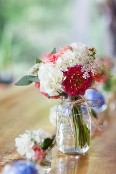 Wedding Flowers In Mason Jars - pretty colors, simple twine