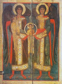 Council of Archangels Mikhael and Gabriel, second half of the XIII century, Veliky Ustyug. Byzantine Icons, Byzantine Art, Religious Icons, Religious Art, Michael Gabriel, Angel Images, Angel Prayers, Russian Icons, Medieval World