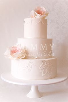 Blush wedding cake  ... #White #Pastel #Rose #Pale #Pink #Blush Wedding... #Wedding #Ideas for brides, grooms, parents & planners ... https://itunes.apple.com/us/app/the-gold-wedding-planner/id498112599?ls=1=8 … plus how to organise an entire wedding, with the money you have available. ♥ The Gold Wedding Planner iPhone #App ♥
