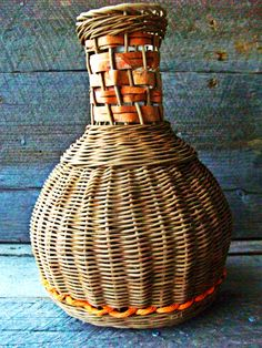Handwoven vase basket with birch bark detail- handmade basket- rope basket- vase- wicker basket- woven basket- bark basket