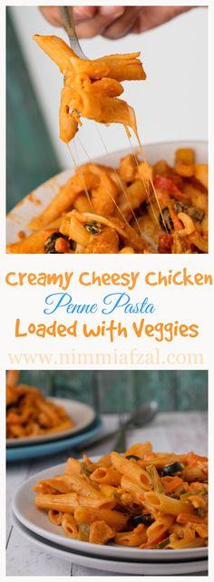 Creamy Cheesy Chicken Penne Pasta With Veggies