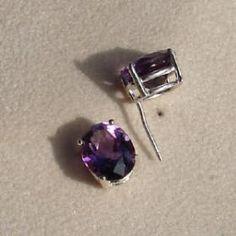 Oval cut amethsyt stud earrings
