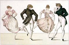 "positivelyaustentatious: ""Dancing during the Regency, c. 1810 "" In period dramas, the dancing usually looks slow and stately. Prints like this show how much fun it could be! Danse Country, Dancing Day, Digital Sheet Music, Folk Dance, Couples Images, Ballet, Regency Era, Old English"