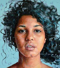 """""""Untitled 05"""" - Silvio Porzionato (Italian, b. 1971), oil on canvas, 2015 {figurative #expressionist art beautiful female head grunge woman face portrait cropped painting #loveart} silvioporzionato.com"""