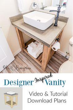 Knockoff bathroom vanity plans with how to build a vanity video tutorial. Easily build this single vanity and add a concrete vanity top. #woodworkingplans #bathroomremodel #bathroommakeover
