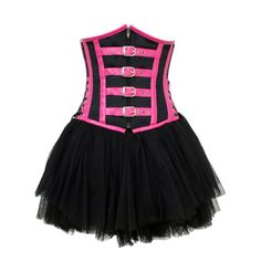 GE-163 Pink and Black Underbust Corset and Skirt
