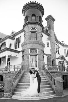 Nothing Says Retro Romance Like A Black And White Portrait In Front Newhall MansionCalifornia Wedding
