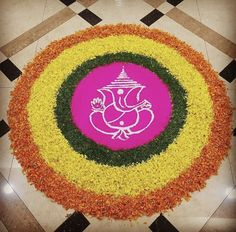 Flower Rangoli Ganesha Rangoli using flower petals Easy Rangoli Designs Videos, Easy Rangoli Designs Diwali, Rangoli Designs Latest, Simple Rangoli Designs Images, Rangoli Designs Flower, Rangoli Border Designs, Small Rangoli Design, Rangoli Patterns, Colorful Rangoli Designs