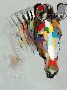 Part of a collection of oil paintings Raj is contemplating for arrival this fall. Like if you'd like to hang this colourful zebra in your home!