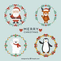 Personajes navideños y coronas navideñas Vector Gratis