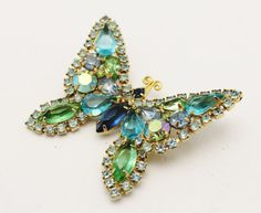 Vintage+Weiss+Butterfly+Brooch+Aqua+Blue+and+by+HeirloomBandB,+$96.00