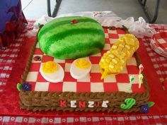 Picnic birthday cake with watermelon, corn on the cob, and deviled eggs by Amber's Cake Lair