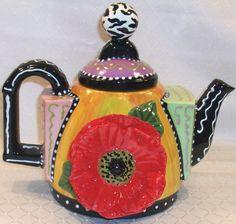 """#151 Deco Poppy Teapot, 8""""H"""