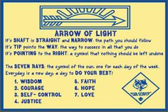 Arrow of Light Poster explaining what it is.