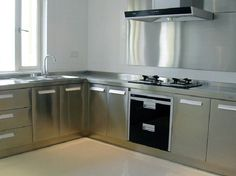 L Shape OEM China Stainless Steel Kitchen Cabinet, Find details about China Kitchen Cabinets, Home Furniture from L Shape OEM China Stainless Steel Kitchen Cabinet - Guangzhou Pole Kitchen & Wardrobe Co. Aluminum Kitchen Cabinets, Stainless Steel Kitchen Cabinets, Aluminium Kitchen, Small Kitchen Cabinets, Classic Kitchen Furniture, Kitchen Interior, Kitchen Design, China Kitchen, New Kitchen