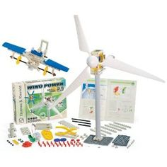 Electricity generating turbines  Build wind powered generators to energize your electric vehicles and charge your rechargeable batteries  Kit includes two styles of wind turbine blades and a gearbox with three different gear ratios for experimenting.  Explore this amazing free source of renewable energy  Kit comes with everything you need