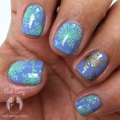 Mint Stamped Mani #blue #nailart - bellashoot.com