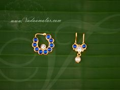 Nath and bullaku in blue color kemp and white stones. Nose Jewelry, Jewellery, Gold Nose Rings, Nose Stud, White Stone, Studs, Bangles, Stud Earrings, India