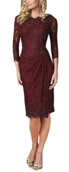 Prom Queen Women's 3/4 Sleeve Lace Mother of the Bride Dress Formal Gowns Size 10 Burgundy