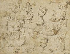 """Ведьмы (""""Brujas). Возможно, Иероним Босх (ок 1450-1516). Ручка и коричневые чернила на бумаге. Лувр."""
