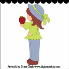 Apple for Teacher 1 - Cutting File : Digital Scrapbook Kits, Cute Clip Art, Cutting Files, Trina Clark, Instant downloads, commercial use allowed, great prices.