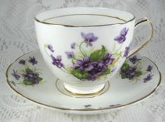 Vintage Violets English Cup And Saucer Bone China Duchess 1940s Teacup – Antiques And Teacups